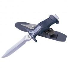 Нож водолазный IST K-02, нержавеющая сталь, пластиковые ножны